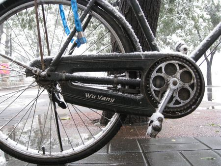 Five Rams Bicycle Covered in Snow.